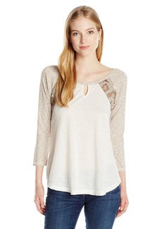 Miss Me Women's Quartersleeve Raglan Top  L