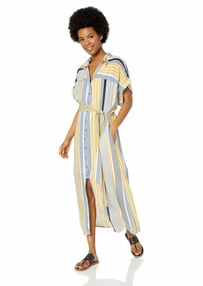Miss Me Women's Striped Midi Shirt Dress  M