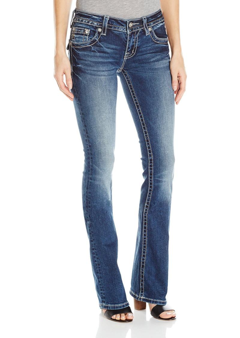 Miss Me Women's Stud Flap Pocket Mid Rise Boot Cut Denim Jean