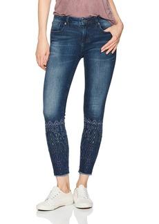 Miss Me Women's Tonal Embroidered Calf Ankle Skinny Denim Jean