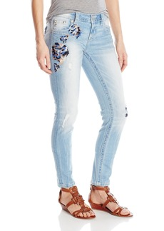Miss Me Women's Wash Floral Embroidered Skinny Denim Jean Light