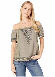 Miss Me Off the Shoulder Aztec Embroidered Top