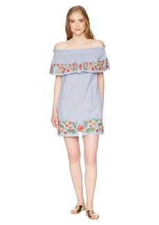 Miss Me Off the Shoulder Flower Embroidery Dress