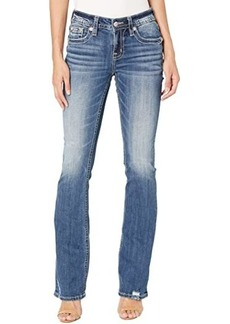 Miss Me Peacock Feather Pocket Bootcut in Medium Blue