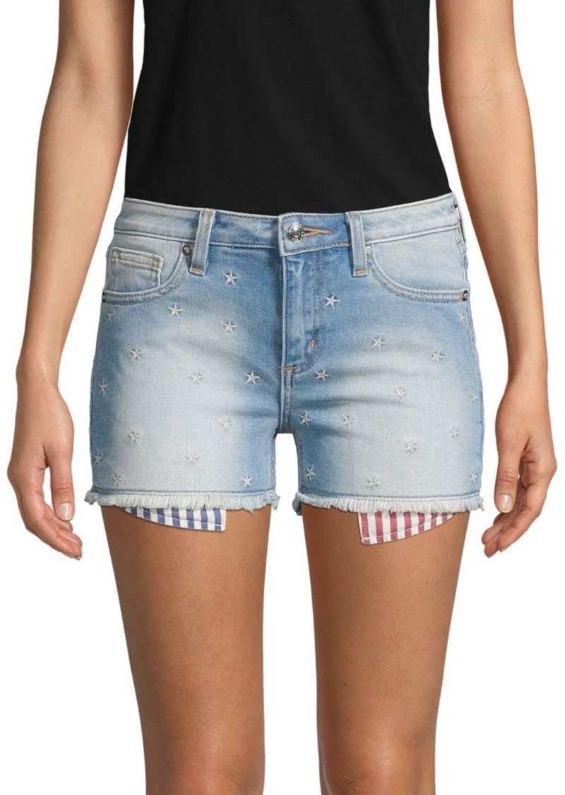 Miss Me Star Allover Denim Shorts