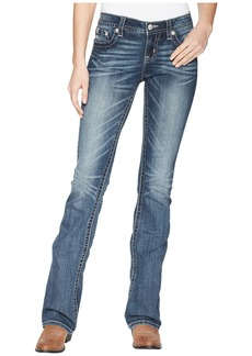 Star and Horseshoe Bootcut Jeans in Dark Blue