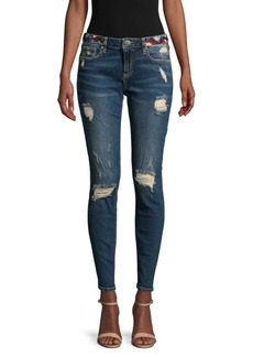 Miss Me Star Embroidery Destroyed Skinny Jeans