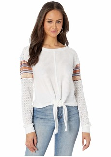 Miss Me Tie Front Embroidered Contrast Long Sleeve Top