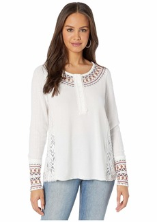 Miss Me Tribal Inspired Embroidered Lace Trim Long Sleeve Top