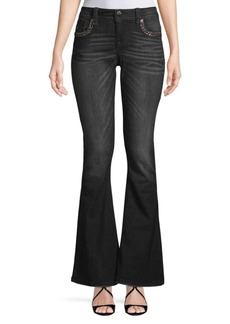 Miss Me Yoke Embellished Flared Jeans