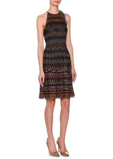 Missoni 3-D Zigzag Sleeveless Halter Metallic Knit Dress