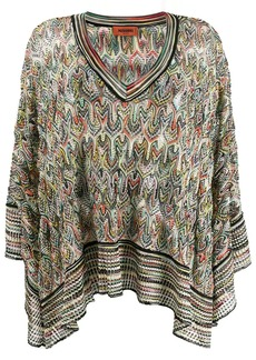 Missoni abstract pattern knit poncho