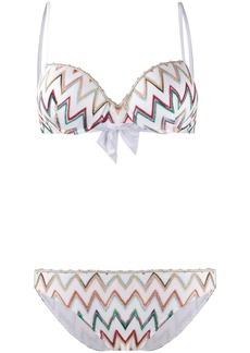 Missoni bow detailed zigzag bikini set