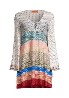 Missoni Chevron Long-Sleeve Short Cover-Up