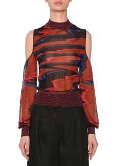 Missoni Cold-Shoulder Long-Sleeve Space-Dye Top