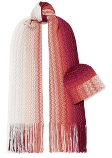 Missoni Crochet-knit Wool-blend Scarf And Beanie Set
