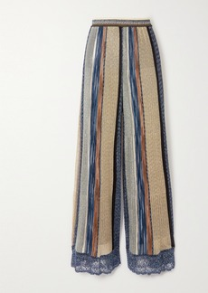 Missoni Crochet-trimmed Striped Metallic Knitted Wide-leg Pants