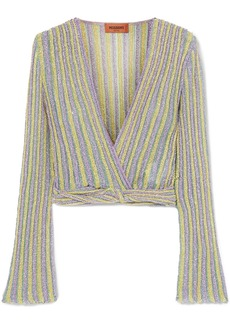 Missoni Cropped Wrap-effect Metallic Striped Crochet-knit Top