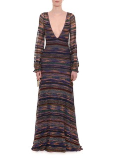 Missoni Deep-V Long-Sleeve Elastic Cuff Metallic-Stripe Long Dress