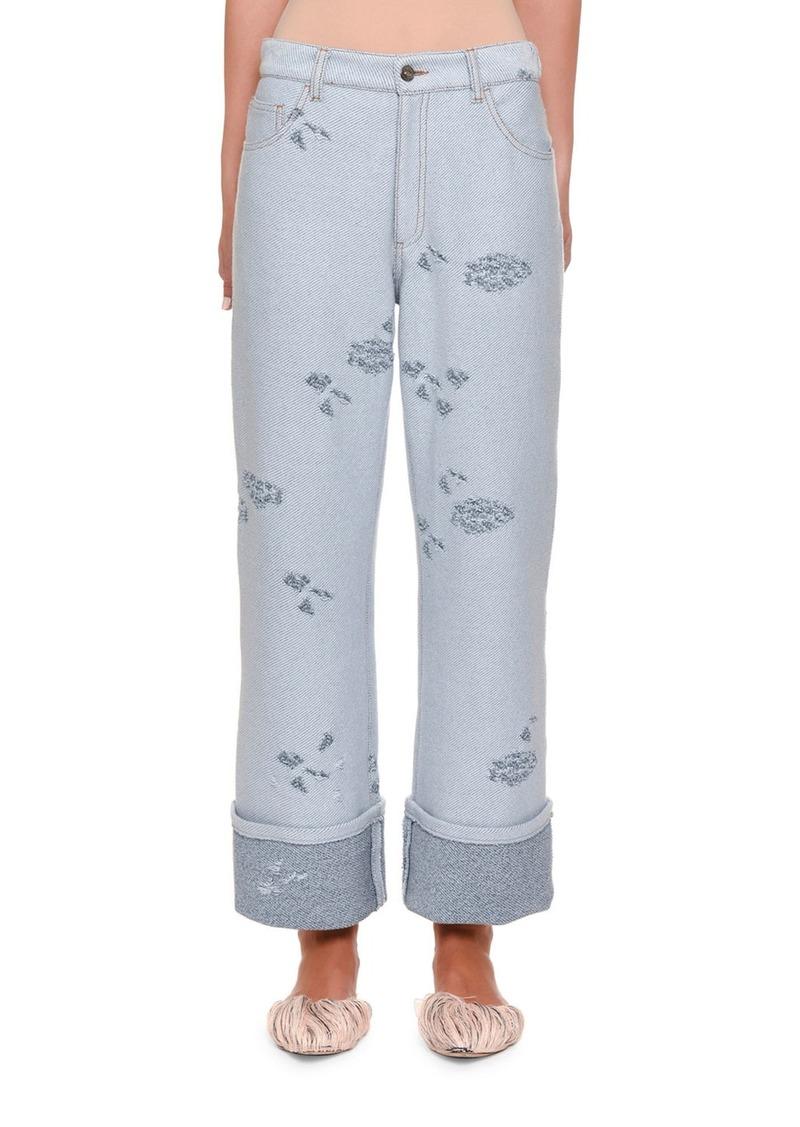 Missoni Distressed Knit Boyfriend Jeans