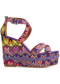 Missoni embroidered wedged sandals