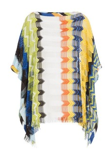 Missoni Fringed Knit Tunic with Cutout Striping
