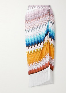 Missoni Fringed Metallic Crochet-knit Midi Skirt