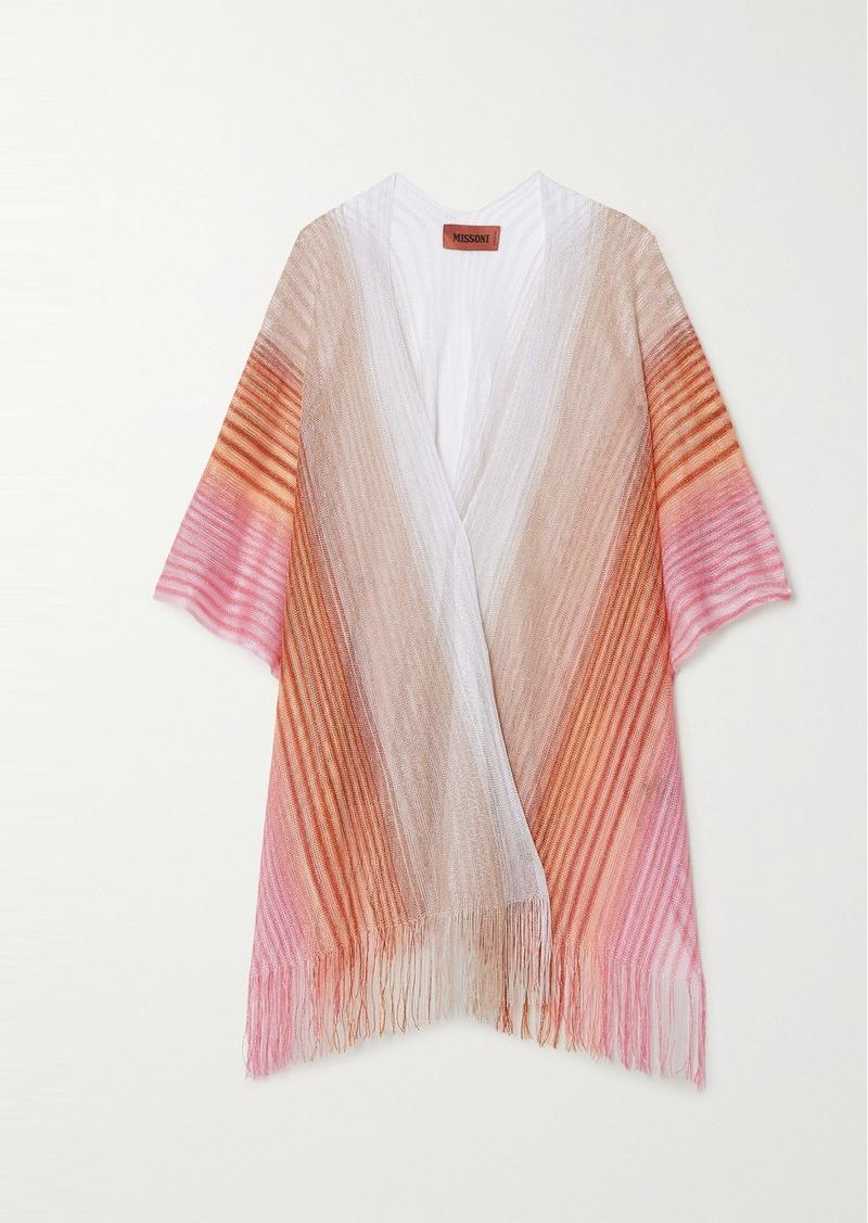 Missoni Fringed Striped Metallic Crochet-knit Wrap