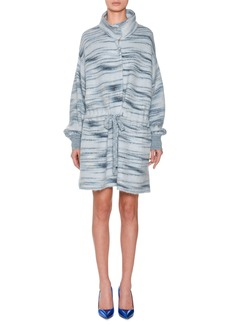 Missoni Funnel-Collar Drawstring-Waist Space-dye Alpaca-Mohair Blend Coat
