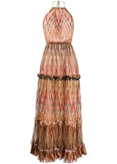 Missoni halter neck ruffled silk dress