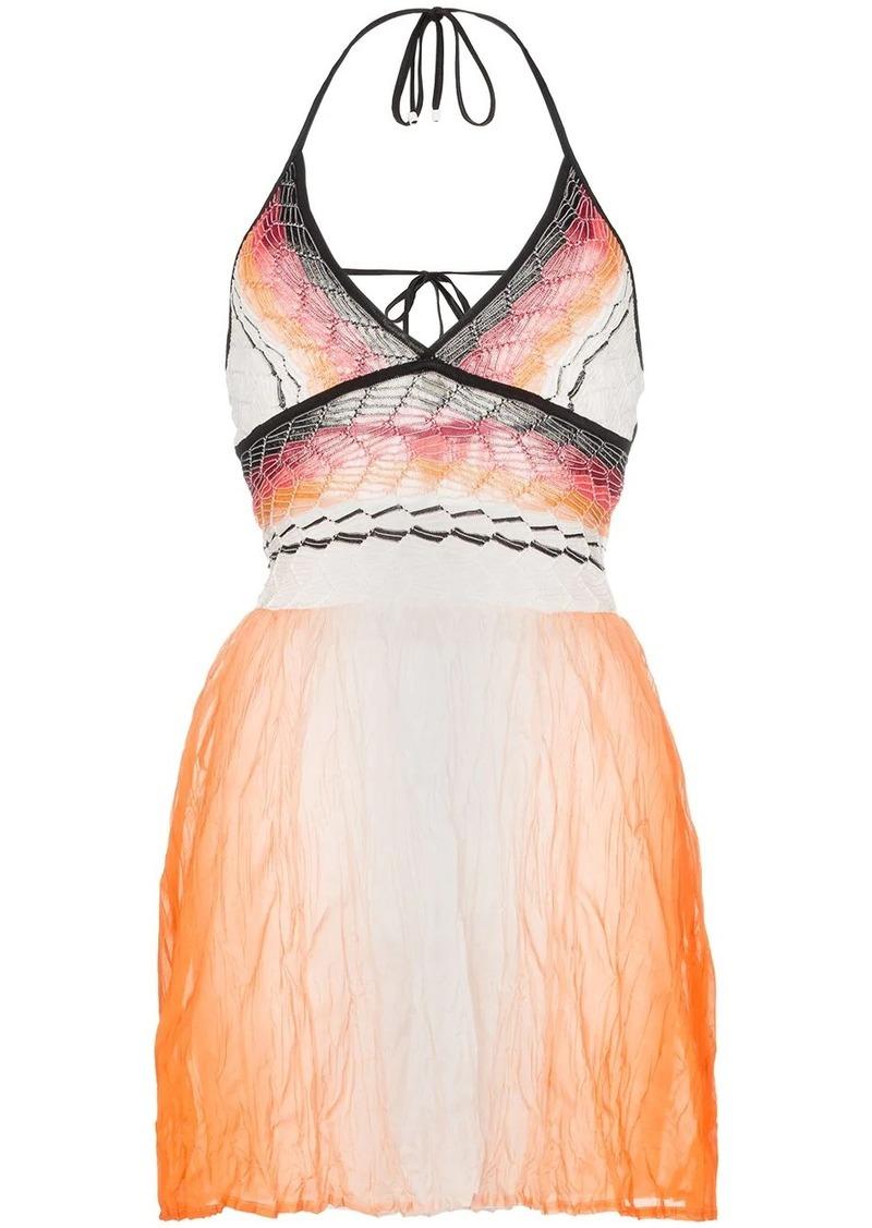 Missoni halterneck ombre dyed cotton dress