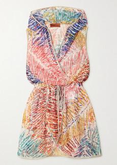 Missoni Hooded Wrap-effect Metallic Crochet-knit Mini Dress