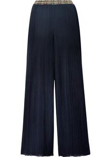 Missoni Intarsia-trimmed Ribbed-knit Wide-leg Pants