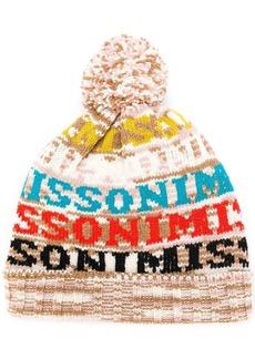 Missoni logo knitted pom pom hat