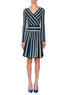 Missoni Long-Sleeve Metallic Stripe Wrap Mini Dress
