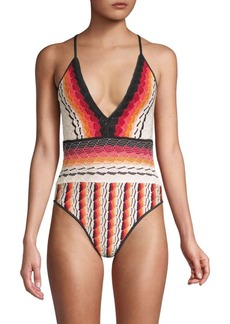 Missoni Maglieria Sfumata Plunging One-Piece Swimsuit