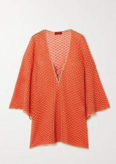 Missoni Mare Lace-up Metallic Crochet-knit Kaftan