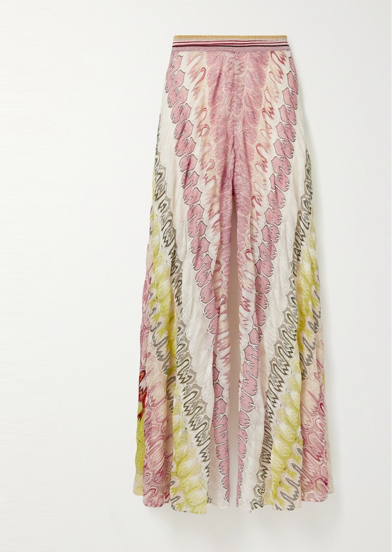 Missoni Metallic Crochet-knit Silk-blend Wide-leg Pants