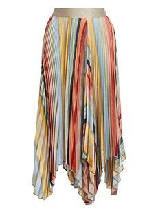 Missoni Metallic Pleated Handkerchief Midi Skirt