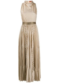 Missoni metallic-stripe pleated maxi-dress