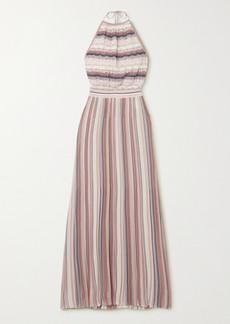 Missoni Metallic Striped Crochet-knit Halterneck Maxi Dress