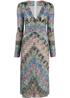 Missoni metallic-threading V-neck dress
