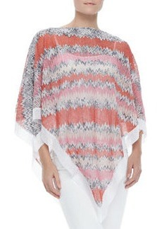 Missoni Zigzag-Knit Poncho with White Trim