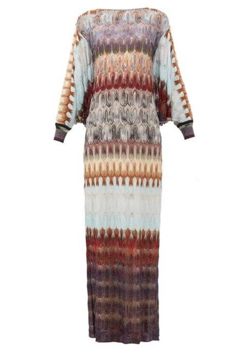 Missoni Cape-back metallic crochet-knit dress