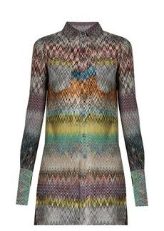 Missoni Chevron-knit patch-pocket blouse