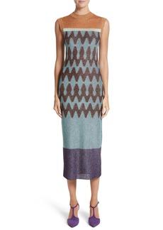 Missoni Colorblock Metallic Knit Midi Dress