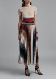 Missoni Colorblocked Pleated Midi Skirt