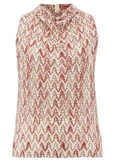 Missoni Cowl-neck zigzag-knitted lamé top