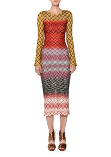 Missoni Crewneck Long-Sleeve Multicolor Knit Midi Dress