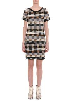 Missoni Crewneck Short-Sleeve Space-Dye Check Wool Short Dress
